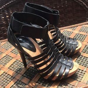 BCBGeneration Gerri Leather Strappy Sandal Heels 7